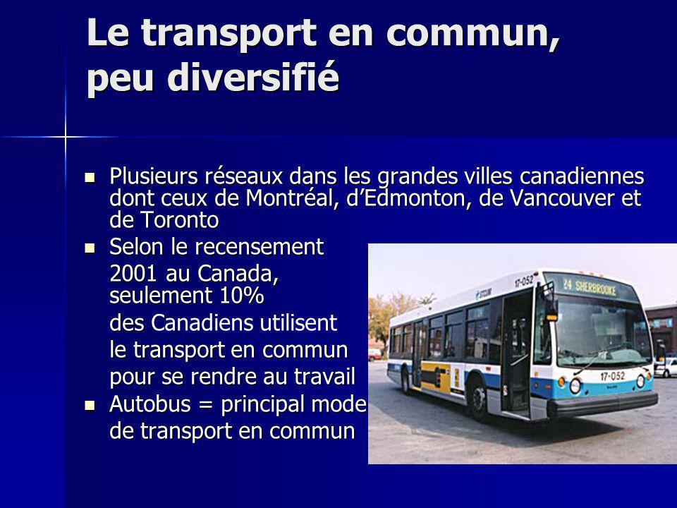 Le transport en commun, peu diversifié Plusieurs réseaux dans les grandes villes canadiennes dont ceux de Montréal, dEdmonton, de Vancouver et de Toro