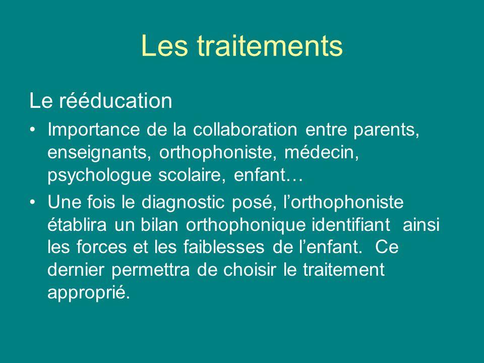 Les traitements Le rééducation Importance de la collaboration entre parents, enseignants, orthophoniste, médecin, psychologue scolaire, enfant… Une fo