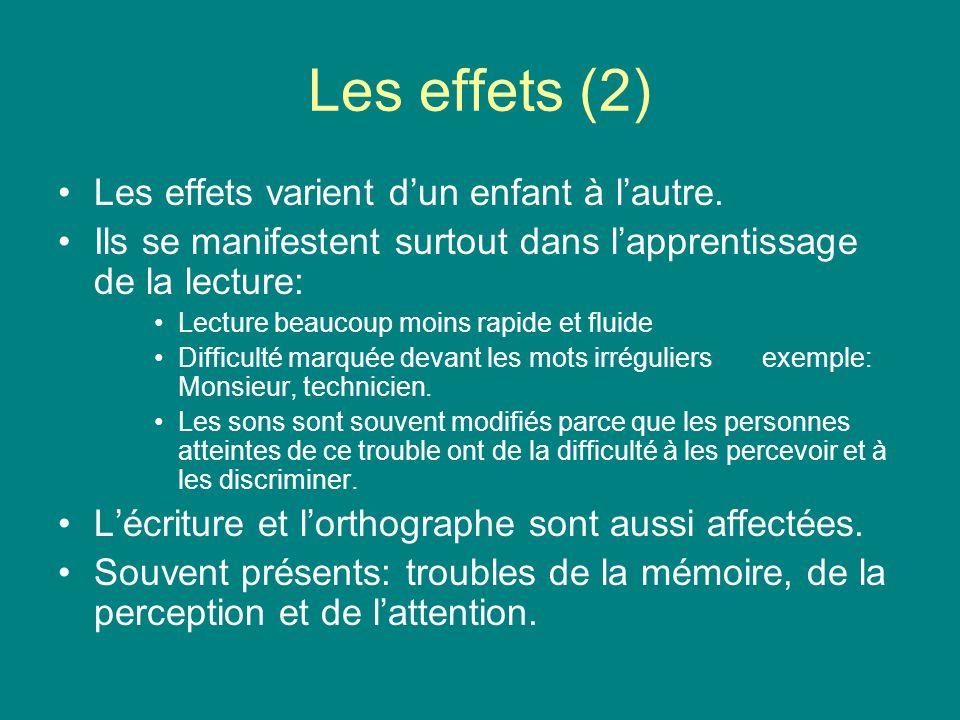 Les effets (2) Les effets varient dun enfant à lautre. Ils se manifestent surtout dans lapprentissage de la lecture: Lecture beaucoup moins rapide et