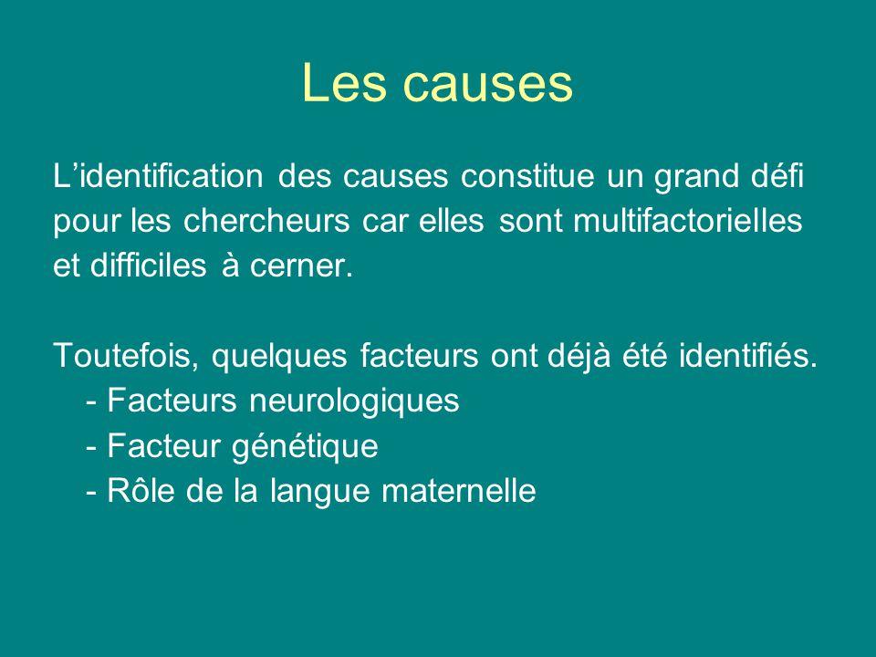 Les causes Lidentification des causes constitue un grand défi pour les chercheurs car elles sont multifactorielles et difficiles à cerner. Toutefois,