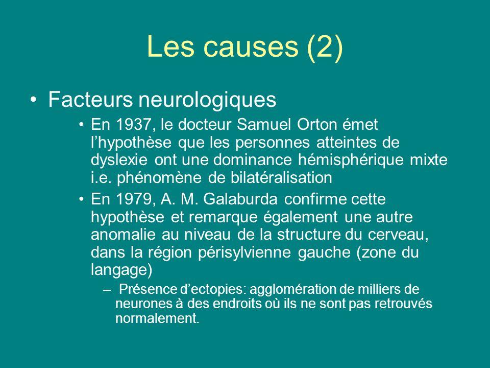 Les causes (2) Facteurs neurologiques En 1937, le docteur Samuel Orton émet lhypothèse que les personnes atteintes de dyslexie ont une dominance hémis
