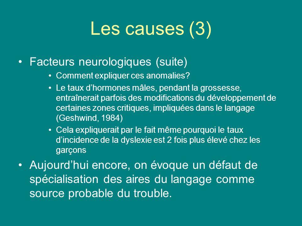 Les causes (3) Facteurs neurologiques (suite) Comment expliquer ces anomalies? Le taux dhormones mâles, pendant la grossesse, entraînerait parfois des