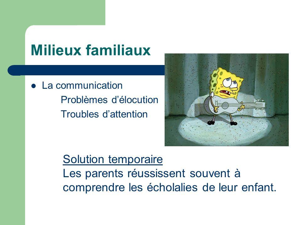 Milieux familiaux La communication Problèmes délocution Troubles dattention Solution temporaire Les parents réussissent souvent à comprendre les écholalies de leur enfant.
