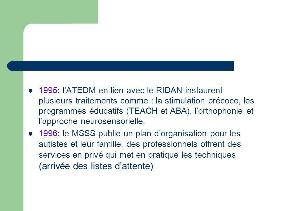 1995: lATEDM en lien avec le RIDAN instaurent plusieurs traitements comme : la stimulation précoce, les programmes éducatifs (TEACH et ABA), lorthophonie et lapproche neurosensorielle.