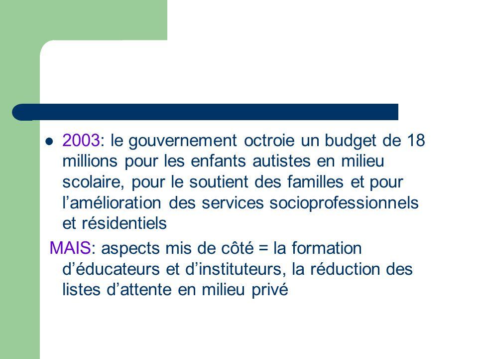 2003: le gouvernement octroie un budget de 18 millions pour les enfants autistes en milieu scolaire, pour le soutient des familles et pour laméliorati