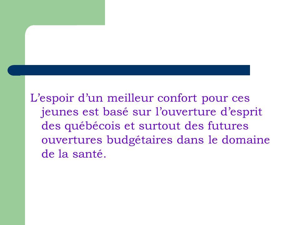 Lespoir dun meilleur confort pour ces jeunes est basé sur louverture desprit des québécois et surtout des futures ouvertures budgétaires dans le domaine de la santé.