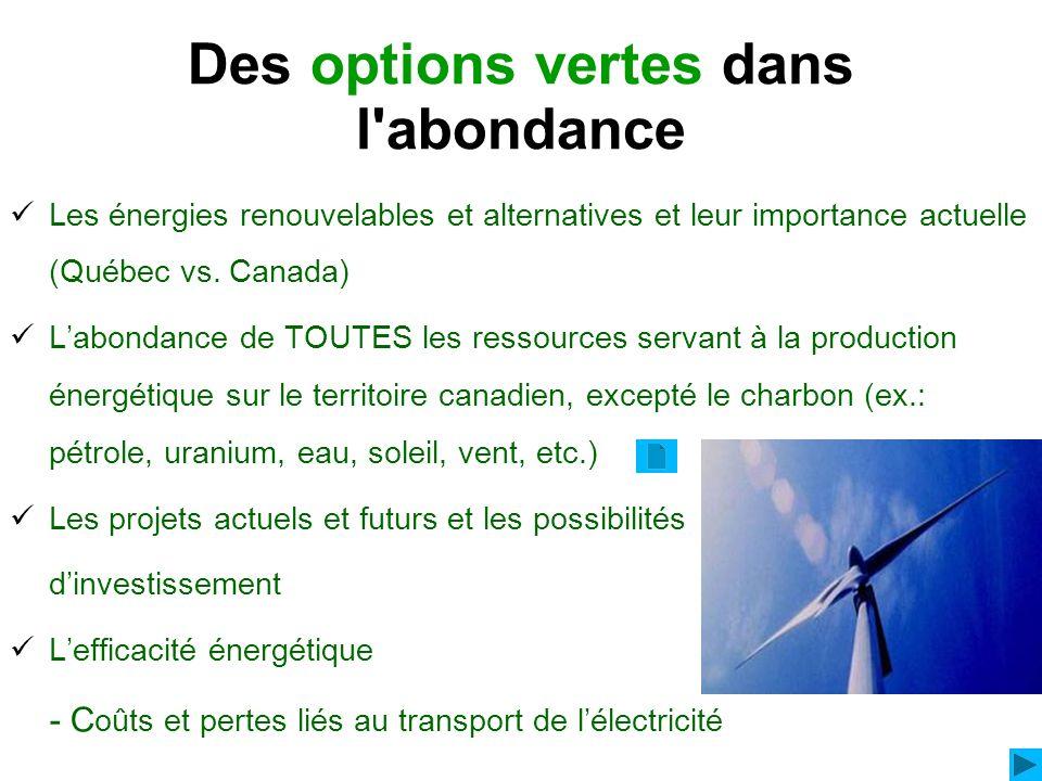 Des options vertes dans l'abondance Les énergies renouvelables et alternatives et leur importance actuelle (Québec vs. Canada) Labondance de TOUTES le