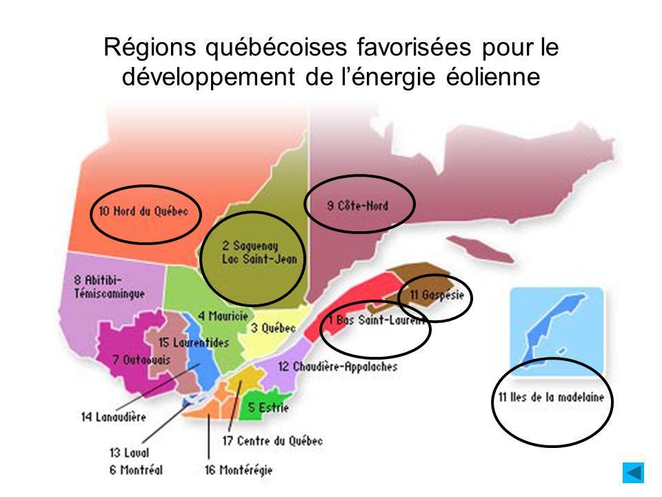 Régions québécoises favorisées pour le développement de lénergie éolienne