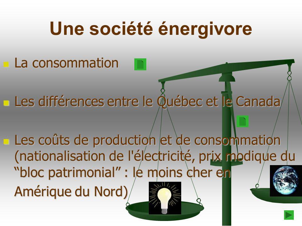 Une société énergivore La consommation La consommation Les différences entre le Québec et le Canada Les différences entre le Québec et le Canada Les c