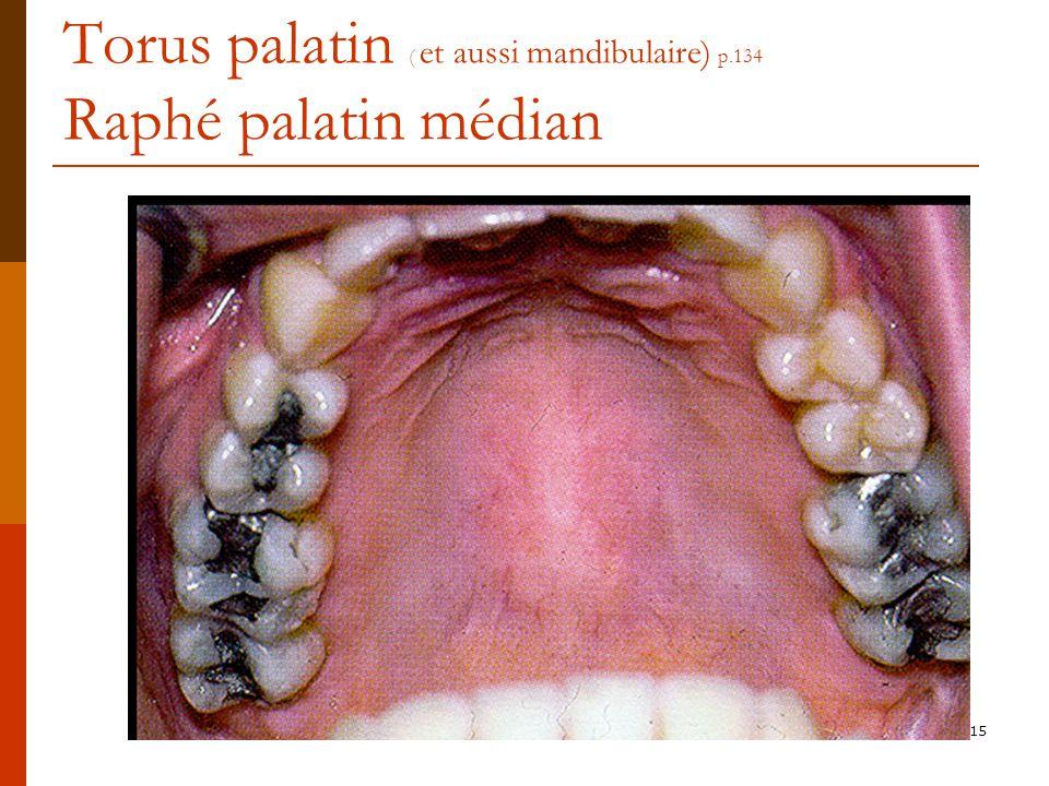 15 Torus palatin ( et aussi mandibulaire) p.134 Raphé palatin médian