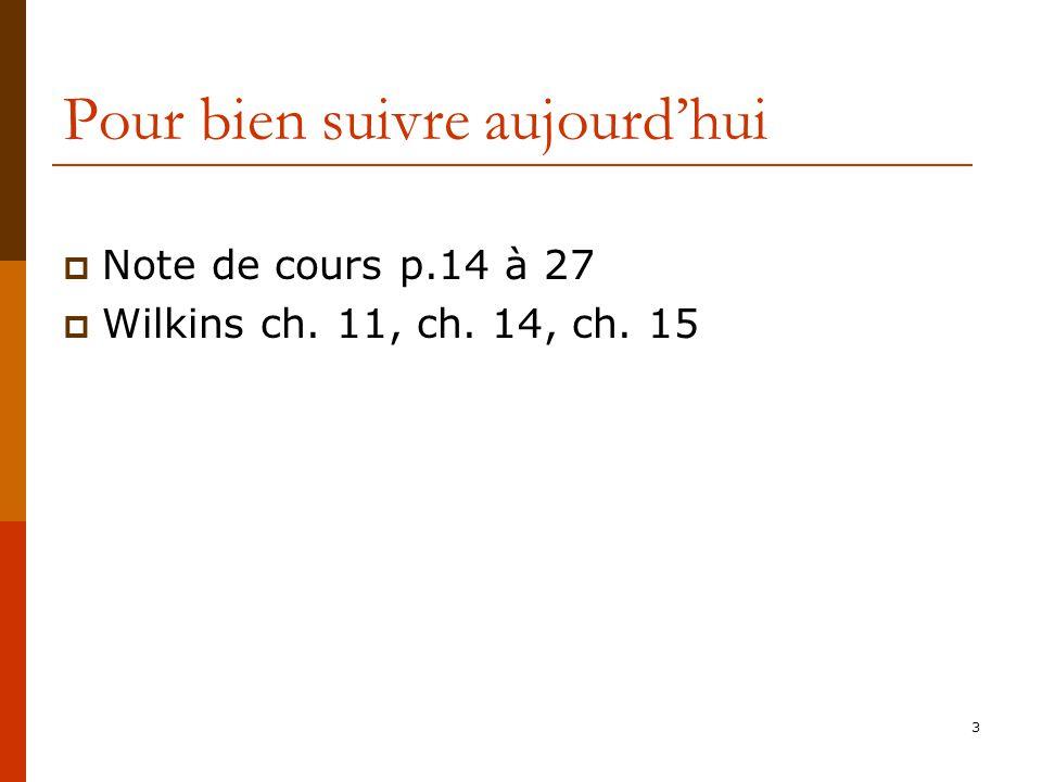 3 Pour bien suivre aujourdhui Note de cours p.14 à 27 Wilkins ch. 11, ch. 14, ch. 15