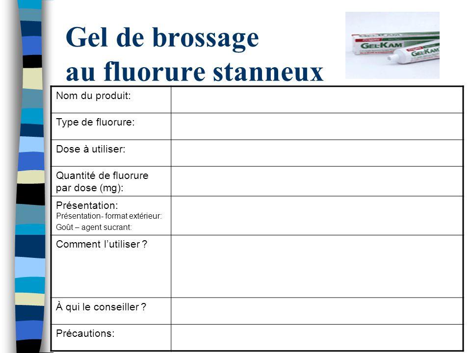 Gel de brossage au fluorure stanneux Nom du produit: Type de fluorure: Dose à utiliser: Quantité de fluorure par dose (mg): Présentation: Présentation