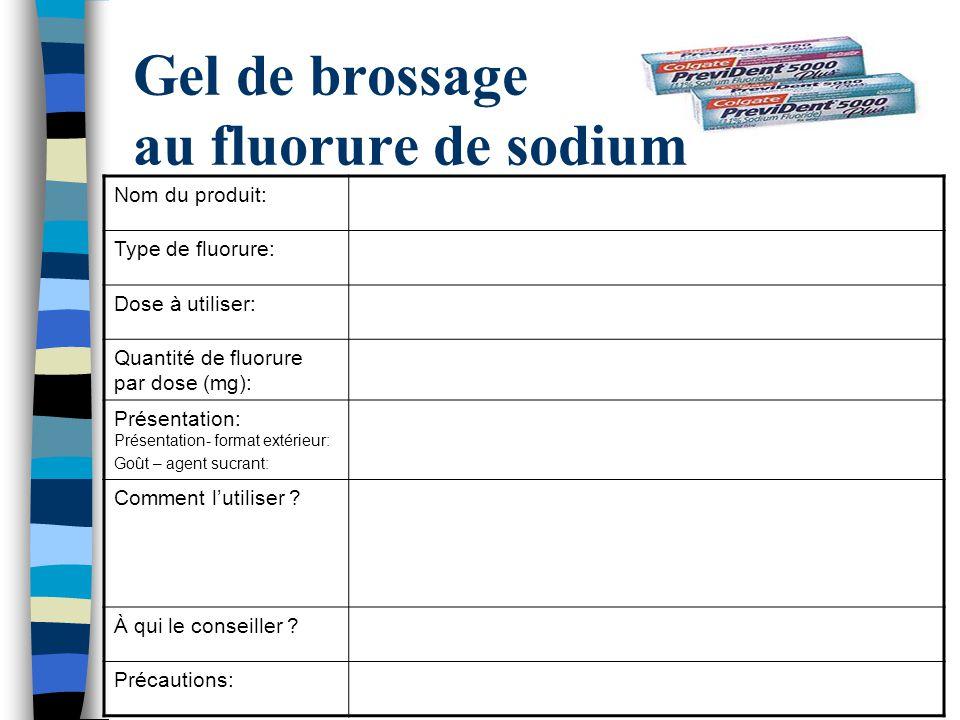 Gel de brossage au fluorure de sodium Nom du produit: Type de fluorure: Dose à utiliser: Quantité de fluorure par dose (mg): Présentation: Présentatio