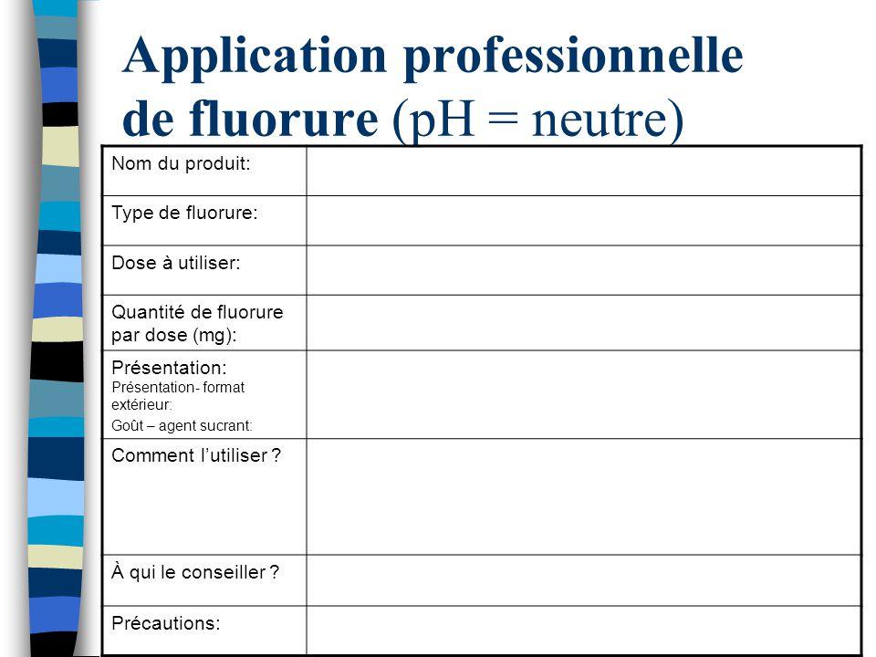 Application professionnelle de fluorure (pH = neutre) Nom du produit: Type de fluorure: Dose à utiliser: Quantité de fluorure par dose (mg): Présentat
