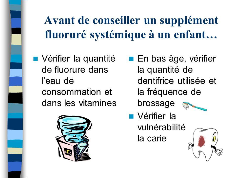 Avant de conseiller un supplément fluoruré systémique à un enfant… Vérifier la quantité de fluorure dans leau de consommation et dans les vitamines En