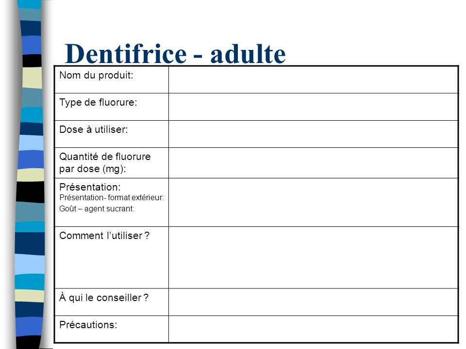 Dentifrice - adulte Nom du produit: Type de fluorure: Dose à utiliser: Quantité de fluorure par dose (mg): Présentation: Présentation- format extérieu