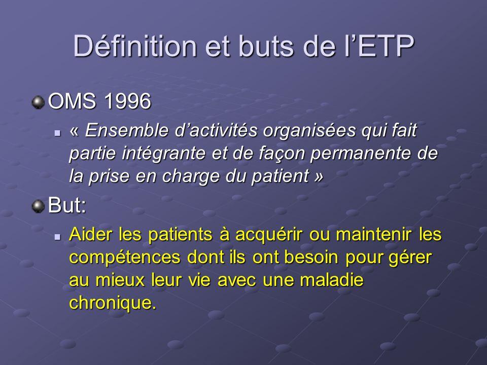 Définition et buts de lETP OMS 1996 « Ensemble dactivités organisées qui fait partie intégrante et de façon permanente de la prise en charge du patien