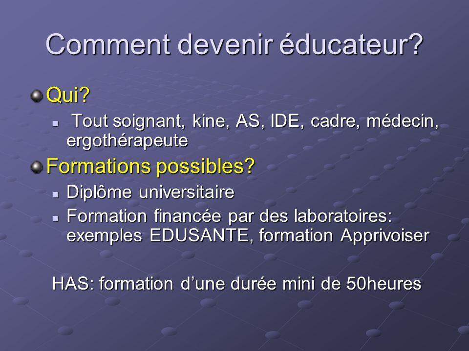 Comment devenir éducateur? Qui? Tout soignant, kine, AS, IDE, cadre, médecin, ergothérapeute Tout soignant, kine, AS, IDE, cadre, médecin, ergothérape