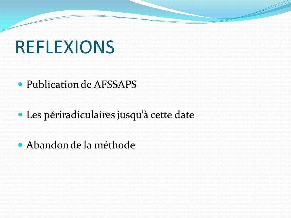 REFLEXIONS Publication de AFSSAPS Les périradiculaires jusquà cette date Abandon de la méthode