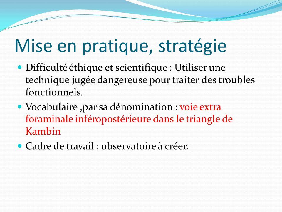Mise en pratique, stratégie Difficulté éthique et scientifique : Utiliser une technique jugée dangereuse pour traiter des troubles fonctionnels.