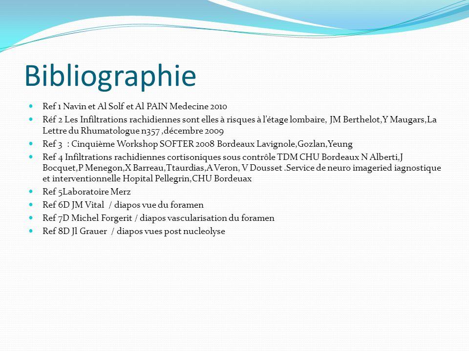 Bibliographie Ref 1 Navin et Al Solf et Al PAIN Medecine 2010 Réf 2 Les Infiltrations rachidiennes sont elles à risques à létage lombaire, JM Berthelo