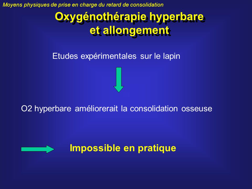 Moyens physiques de prise en charge du retard de consolidation Oxygénothérapie hyperbare et allongement Etudes expérimentales sur le lapin O2 hyperbar