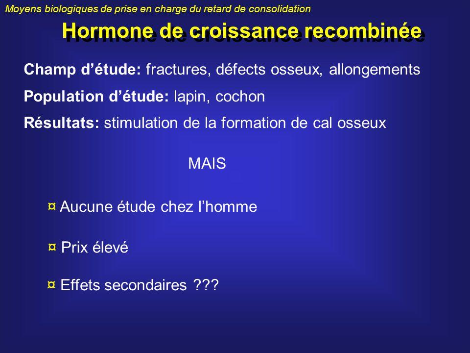 Moyens biologiques de prise en charge du retard de consolidation Hormone de croissance recombinée Champ détude: fractures, défects osseux, allongement