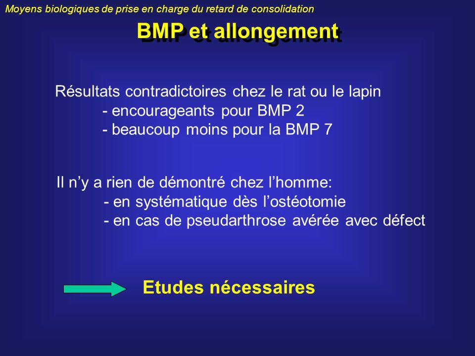 Moyens biologiques de prise en charge du retard de consolidation BMP et allongement Résultats contradictoires chez le rat ou le lapin - encourageants