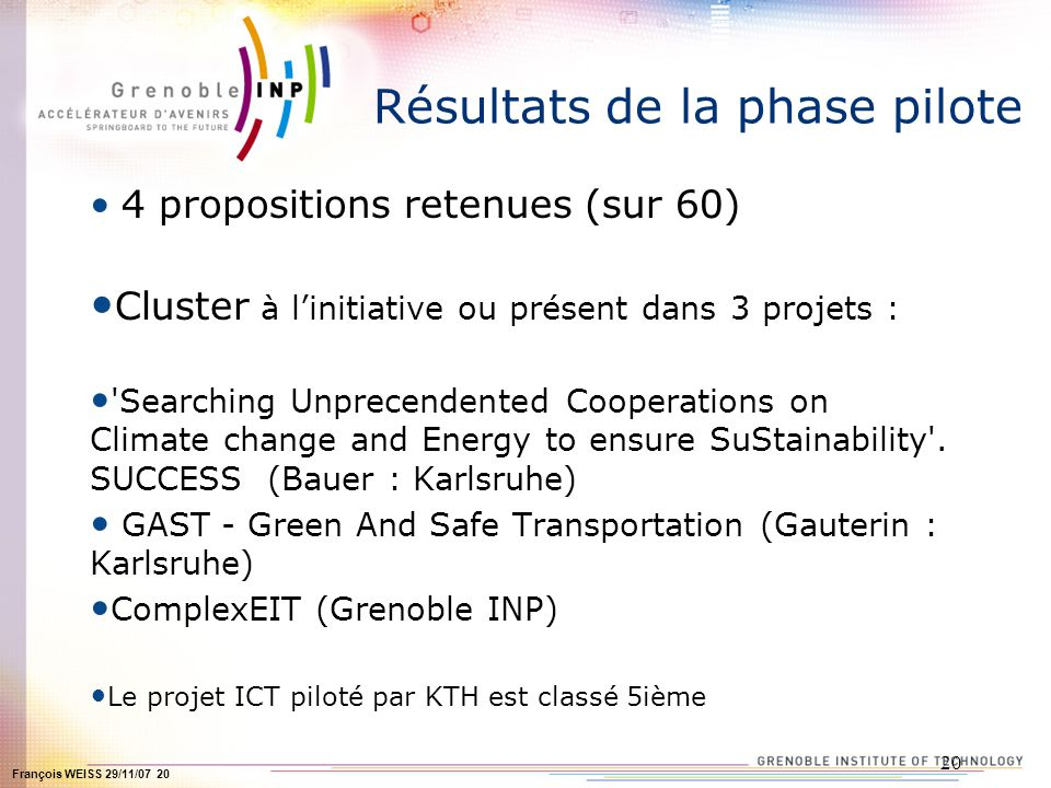 François WEISS 29/11/07 20 20 Résultats de la phase pilote 4 propositions retenues (sur 60) Cluster à linitiative ou présent dans 3 projets : Searching Unprecendented Cooperations on Climate change and Energy to ensure SuStainability .
