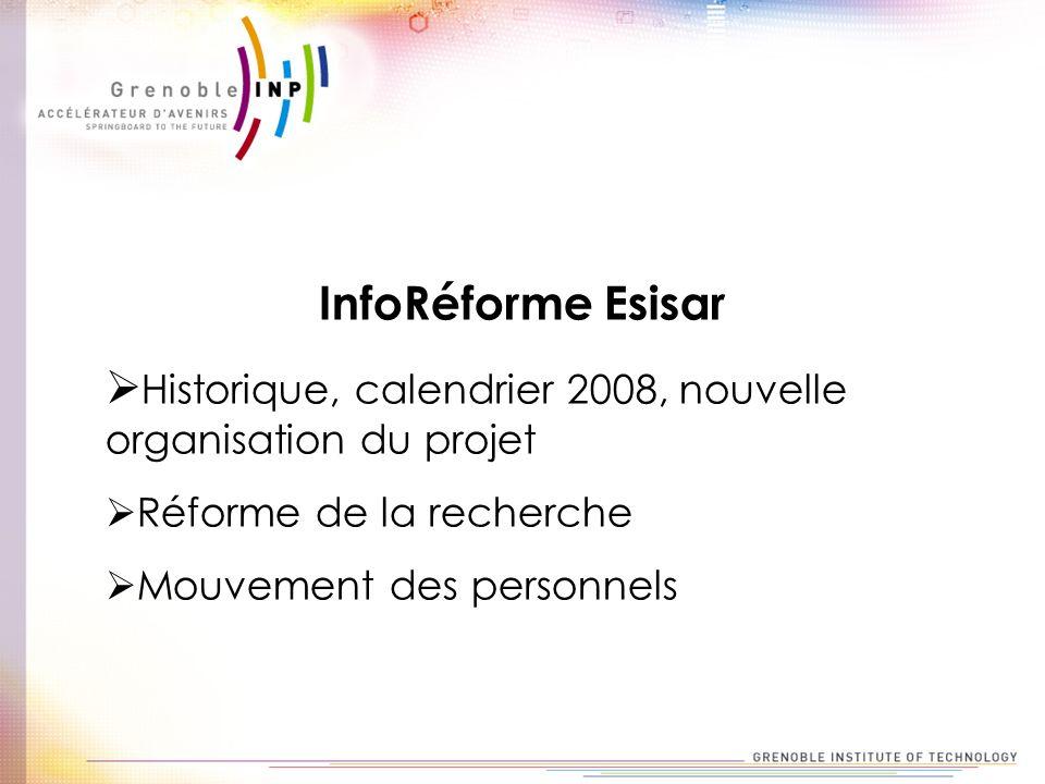 InfoRéforme Esisar Historique, calendrier 2008, nouvelle organisation du projet Réforme de la recherche Mouvement des personnels