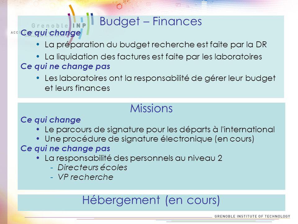 Budget – Finances Ce qui change La préparation du budget recherche est faite par la DR La liquidation des factures est faite par les laboratoires Ce q
