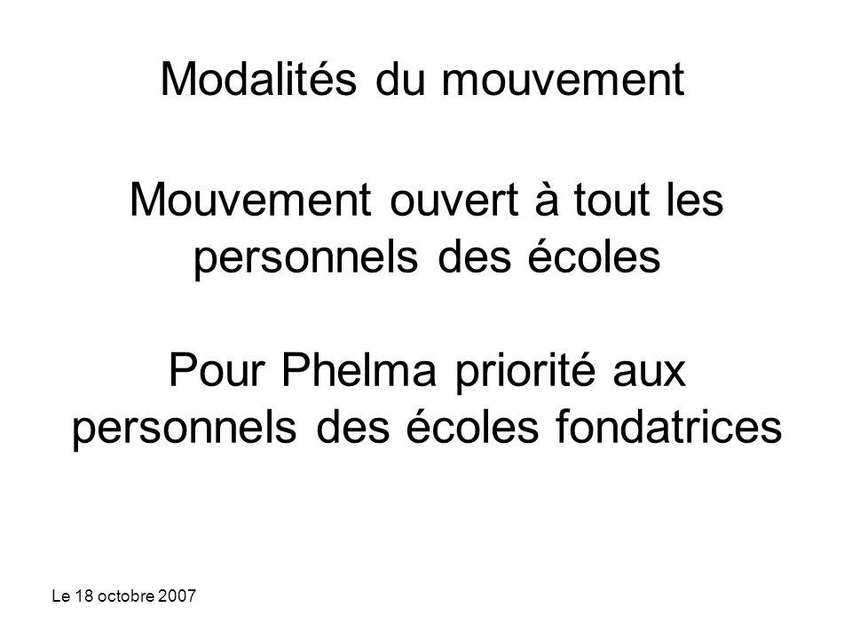 Le 18 octobre 2007 Mouvement ouvert à tout les personnels des écoles Pour Phelma priorité aux personnels des écoles fondatrices Modalités du mouvement