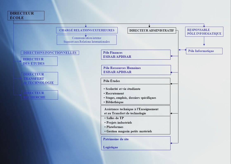 DIRECTEUR ÉCOLE DIRECTEUR DES ÉTUDES DIRECTEUR TRANSFERT de TECHNOLOGIE DIRECTEUR RECHERCHE CHARGÉ RELATIONS EXTERIEURES DIRECTEUR ADMINISTRATIF RESPONSABLE PÔLE INFORMATIQUE Communication interne Support aux Relations Internationales Pôle Informatique DIRECTIONS FONCTIONNELLES Pôle Études Responsable scolarité Assistance technique à lEnseignement et au Transfert de technologie Pôle Ressources Humaines ESISAR/APDISAR Pôle Finances ESISAR/APDISAR Patrimoine de site Logistique Chargé détude administrative (100%) Gestionnaire scolarité (2 x 100%) Gestionnaire scolarité chargé du recrutement (50%) Aide bibliothèque (50%) Assistante administrative TT/service commercial (100% + 50%) Assistant électronicien (100%) Assistant informaticien (100%)