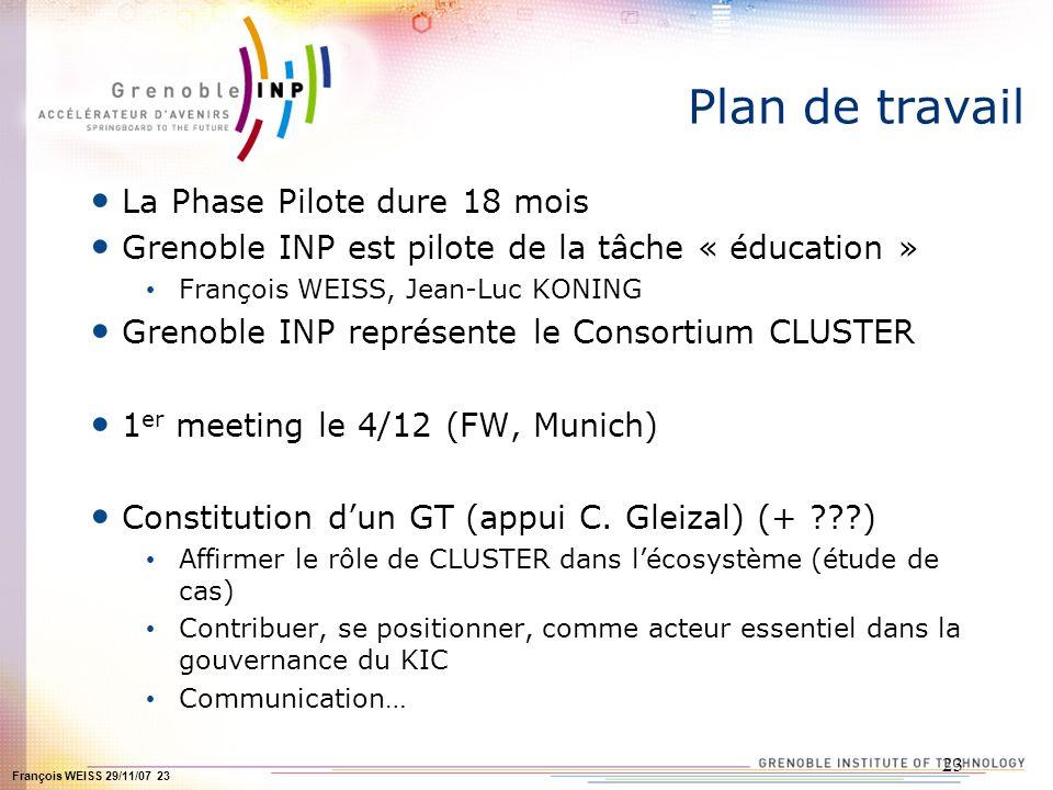 François WEISS 29/11/07 23 23 Plan de travail La Phase Pilote dure 18 mois Grenoble INP est pilote de la tâche « éducation » François WEISS, Jean-Luc