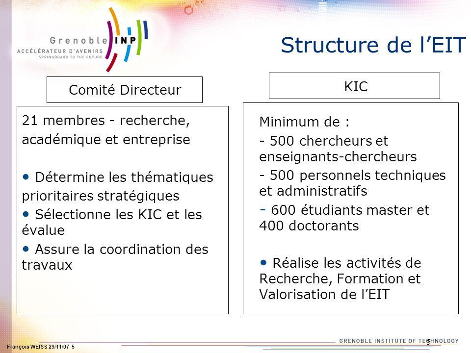 François WEISS 29/11/07 6 6 BUDGET Budget EIT et KCI pour la période 2007/2013 : 2,4Md deuros 300M deuros de lUE pour la phase de démarrage de lIET (personnel, infrastructure et fonctionnement) Le PCRD, le CIP, les FS ne serviront pas à financer les frais dinstallation et de gestion de lEIT et des KIC