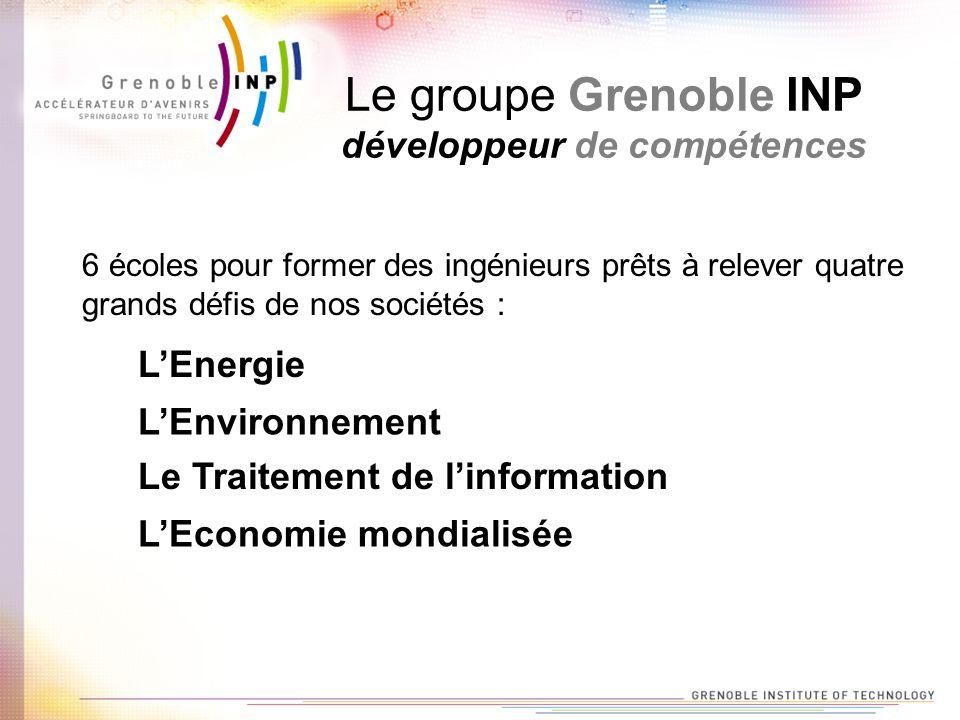 Le groupe Grenoble INP développeur de compétences 6 écoles pour former des ingénieurs prêts à relever quatre grands défis de nos sociétés : LEnergie LEnvironnement Le Traitement de linformation LEconomie mondialisée