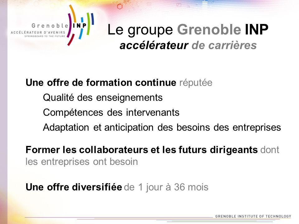 Le groupe Grenoble INP créateur de réseaux Plus de 40 000 ingénieurs et docteurs en activité dans le monde Un accompagnement des élèves-ingénieurs tout au long de leurs études Une aide dans la recherche de leur premier emploi Un lien avec le groupe et les diplômés Grenoble INP