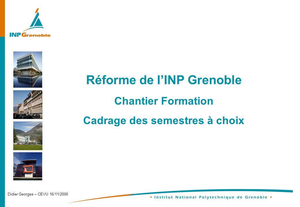Didier Georges – CEVU 16/11/2006 Réforme de lINP Grenoble Chantier Formation Cadrage des semestres à choix