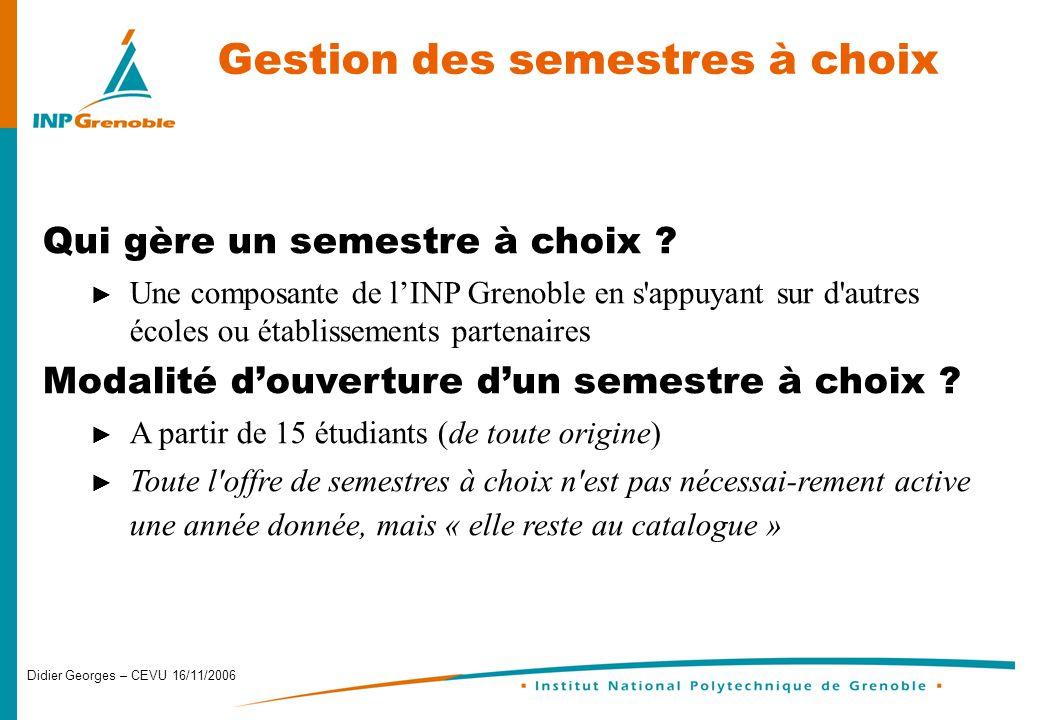 Didier Georges – CEVU 16/11/2006 Gestion des semestres à choix Qui gère un semestre à choix .