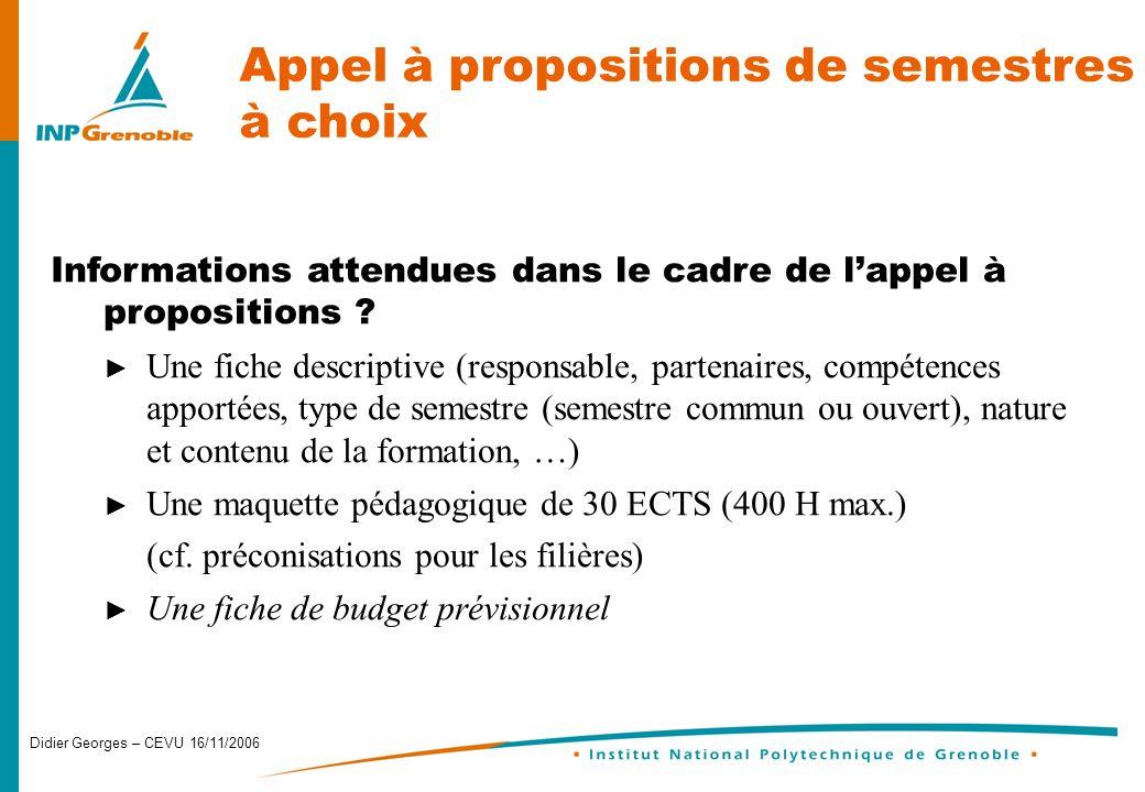 Didier Georges – CEVU 16/11/2006 Appel à propositions de semestres à choix Informations attendues dans le cadre de lappel à propositions .