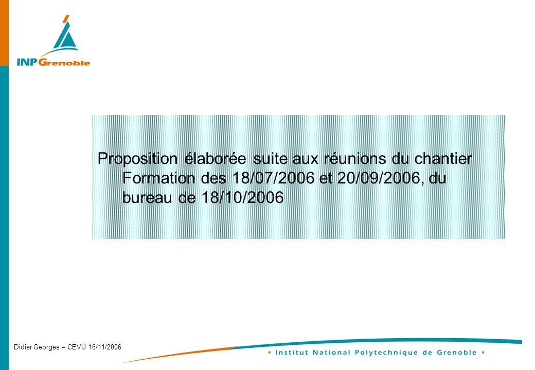Didier Georges – CEVU 16/11/2006 Proposition élaborée suite aux réunions du chantier Formation des 18/07/2006 et 20/09/2006, du bureau de 18/10/2006