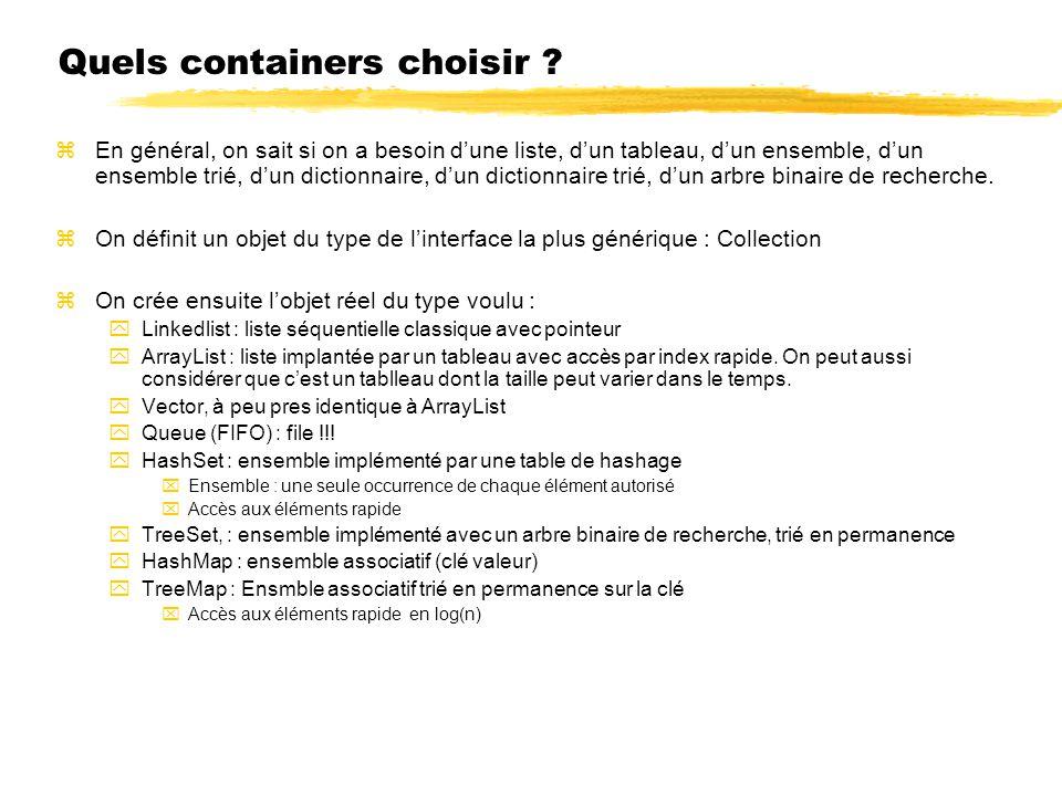 Quels containers choisir ? zEn général, on sait si on a besoin dune liste, dun tableau, dun ensemble, dun ensemble trié, dun dictionnaire, dun diction