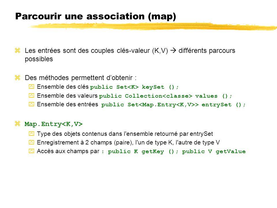 Parcourir une association (map) zLes entrées sont des couples clés-valeur (K,V) différents parcours possibles zDes méthodes permettent dobtenir : Ense