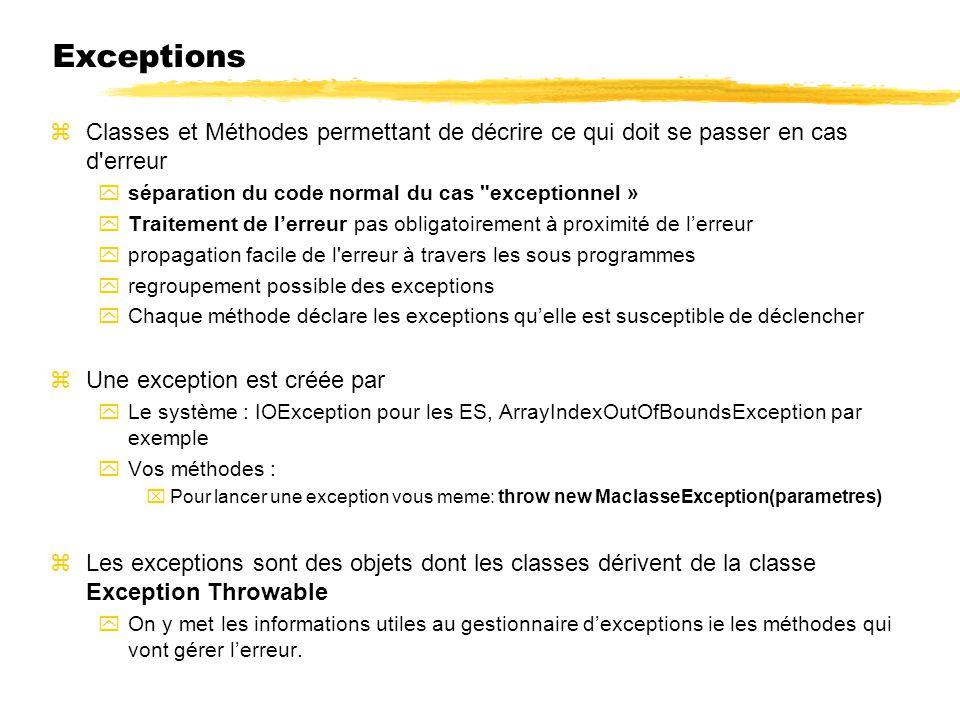 Exceptions zClasses et Méthodes permettant de décrire ce qui doit se passer en cas d'erreur yséparation du code normal du cas