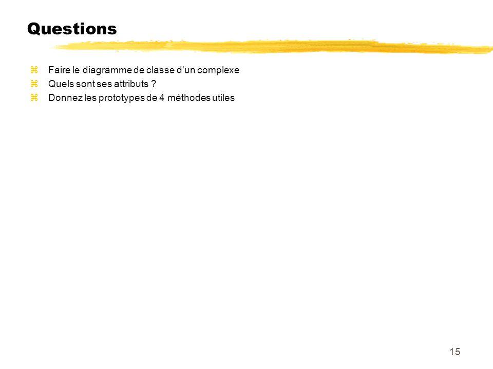 Questions zFaire le diagramme de classe dun complexe zQuels sont ses attributs ? zDonnez les prototypes de 4 méthodes utiles 15