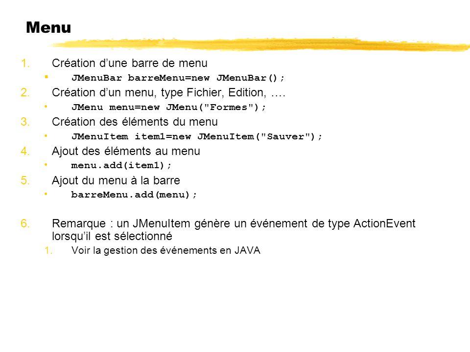 Menu 1.Création dune barre de menu JMenuBar barreMenu=new JMenuBar(); 2.Création dun menu, type Fichier, Edition, …. JMenu menu=new JMenu(