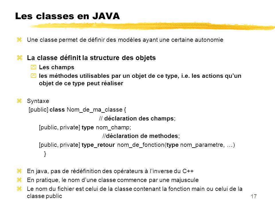 Les classes en JAVA zUne classe permet de définir des modèles ayant une certaine autonomie zLa classe définit la structure des objets yLes champs yles