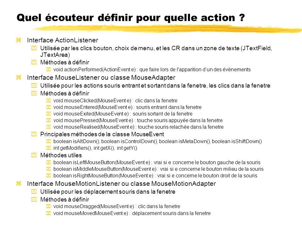 Quel écouteur définir pour quelle action ? zInterface ActionListener yUtilisée par les clics bouton, choix de menu, et les CR dans un zone de texte (J