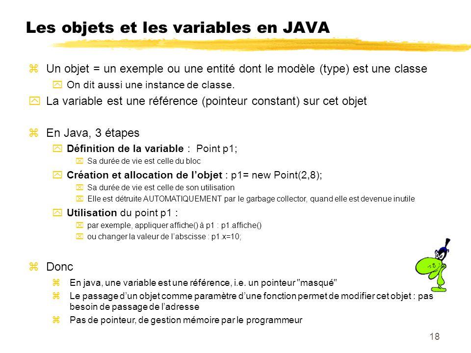 Les objets et les variables en JAVA zUn objet = un exemple ou une entité dont le modèle (type) est une classe yOn dit aussi une instance de classe. yL
