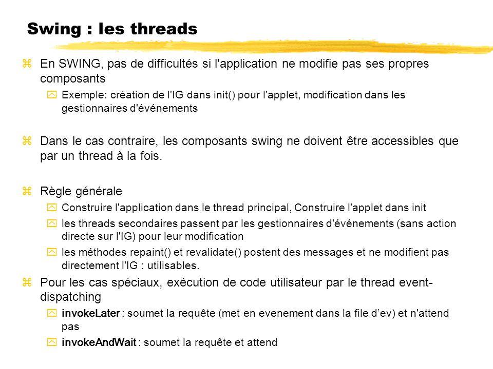 Swing : les threads zEn SWING, pas de difficultés si l'application ne modifie pas ses propres composants yExemple: création de l'IG dans init() pour l